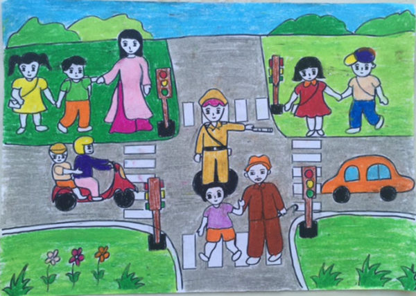 vẽ tranh đề tài an toàn giao thông đường bộ