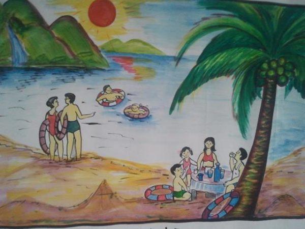 vẽ tranh đề tài gia đình đi chơi