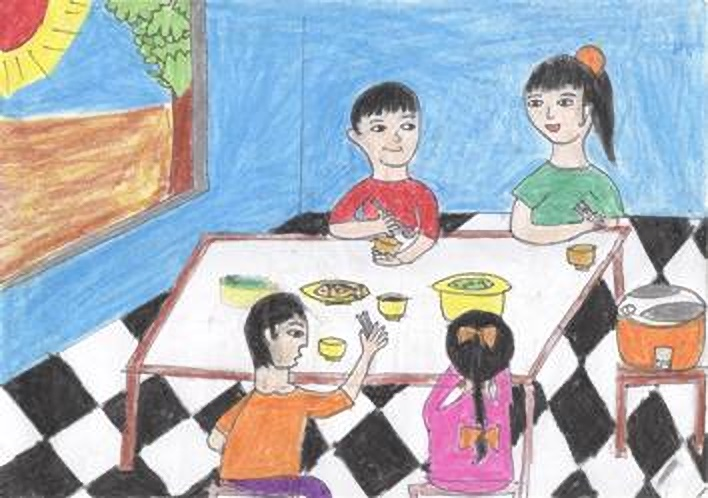 vẽ tranh đề tài sinh hoạt gia đình