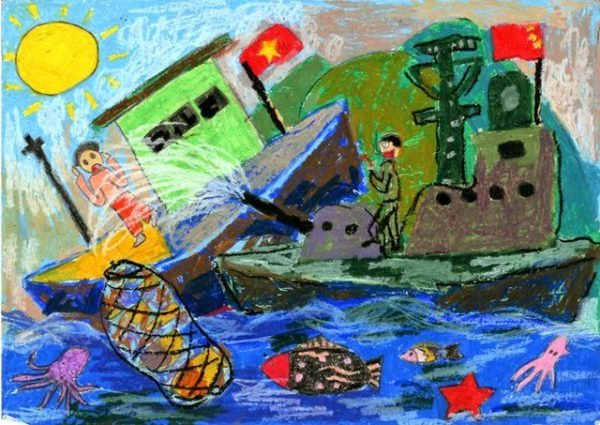 vẽ tranh đề tài an toàn giao thông đường thủy