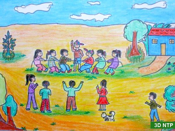 vẽ tranh về đề tài trò chơi dân gian