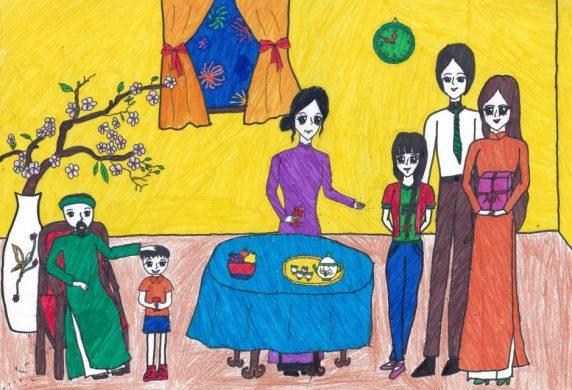 vẽ tranh về đề tài gia đình