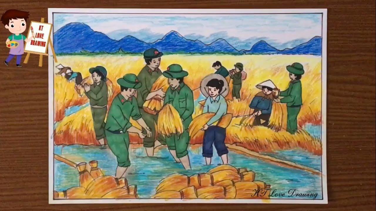 Tranh vẽ chú bộ đội giúp dân gặt lúa