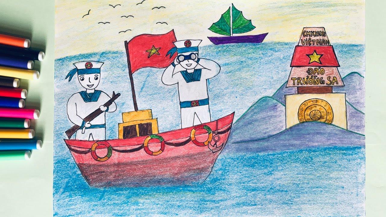 Tranh vẽ chú bộ đội hải đảo